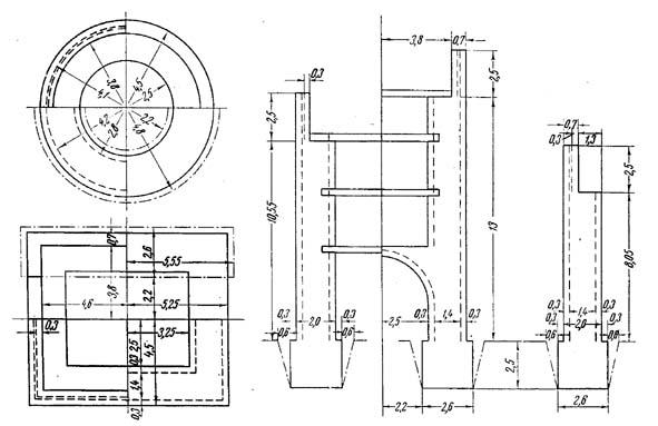 Схема конструкции стен и башен