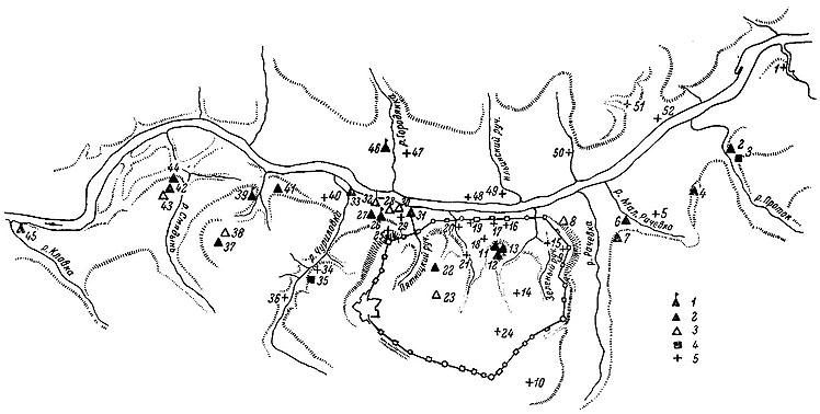 Рис. 171 Схема расположения древних смоленских памятников 1 - сохранившиеся памятники; 2 - памятники...